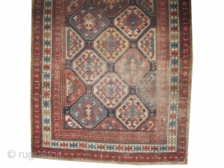"""Shirvan Caucasian knotted circa in 1860 antique, collectors item, 284 x 106 (cm) 9' 4"""" x 3' 6""""  carpet ID: MK-6 The black knots are oxidized. The knots, the warp and the  ..."""