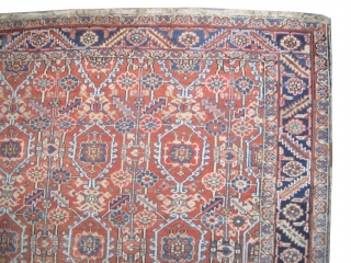 """Bakshaish-Heriz Persian knotted circa in 1900 antique, collector's item, 295 x 235 (cm) 9' 8"""" x 7' 8""""  carpet ID: P-1553 The black knots are oxidized, the knots are hand spun wool,  ..."""