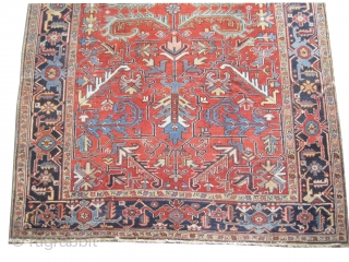 """Heriz Persian knotted circa in 1918 antique, 327 x 226 (cm) 10' 9"""" x 7' 5""""  carpet ID: P-5322 The knots are hand spun lamb wool, the black knots are oxidized, the  ..."""