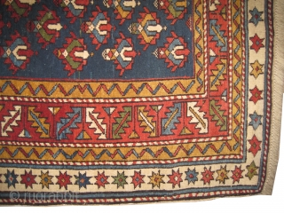 """Shirvan Caucasian knotted circa in 1865 antique, collector's item. 148 x 110 (cm) 4' 10"""" x 3' 7""""  carpet ID: RS-76 The knots, the warp and the weft threads are hand spun  ..."""