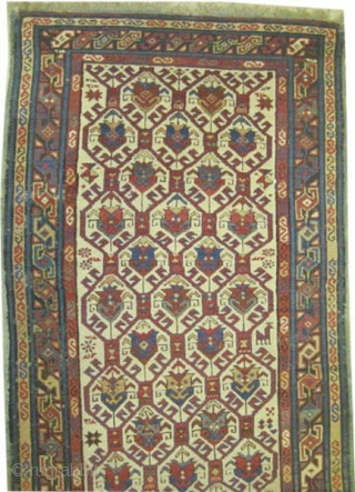 """Shirvan Caucasian, knotted circa in 1865 antique, collector's item. 170 x 88 (cm) 5' 7"""" x 2' 11""""  carpet ID: H-360 The knots, the warp and the weft threads are hand spun  ..."""
