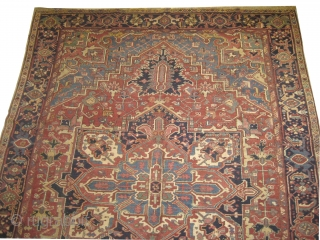 Heriz Persian, knotted circa in 1910 antique, in good condition.