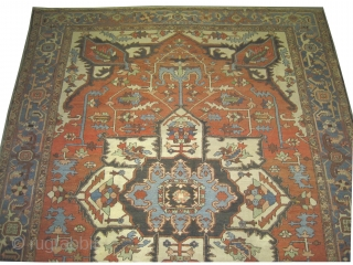 """Serapi Heriz Persian, antique,  382 x 300 (cm) 12' 6"""" x 9' 10""""  carpet ID: P-1286 In good condition, the black knots are oxidized, the background color is rust, the surrounded  ..."""