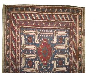 """Soumak side panel, Caucasian antique, 1870, carpet ID: A-873 Size: 107 x 60 (cm) 3' 6"""" x 2' feet, acceptable condition, hand spun wool, the white color is cotton, fine woven with Soumak  ..."""