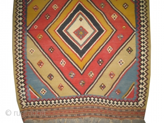 "Qashqai Kelim Persian antique, 1890, Collector's item. Vegetable dyes, woven with hand spun 100% wool, perfect condition, high standard quality. The size is: 290 x 180 (cm) 9' 6"" x 5' 11""  ..."