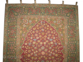 """Mille Fleurs needle work, circa 1910, antique. Collector's item. Size: 190 x 121 (cm) 6' 3"""" x 4' Carpet ID: A-1065  Indian embroidery woven with hand spun 100% Pashmina wool. Vegetable dyes.  ..."""