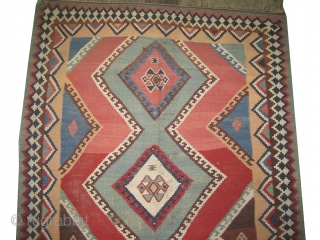 """Qashqai kelim Persian, circa 1905, antique. Collector's item, Size: 254 x 167 (cm) 8' 4"""" x 5' 6"""" carpet ID: A-1108  vegetable dyes, woven with 100% hand spun wool, geometric design, at  ..."""
