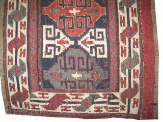 "Soumak Caucasian circa 1890 antique, collector's item,  Size: 93 x 41 (cm) 3' 1"" x 1' 4"" feet, carpet ID: A-276  vegetable dyes, woven with Soumak technique and hand spun wool, the  ..."