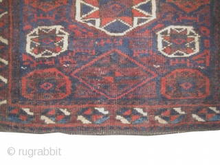 """Belutch Persian circa 1905 antique. Collector's item, Size: 64 x 55 (cm) 2' 1"""" x 1' 10"""" , carpet ID: K-4782  vegetable dyes, the shirazi borders are woven on two lines with  ..."""
