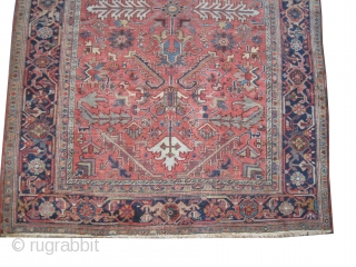 """Heriz Persian, knotted circa in 1918 antique, 330 x 241 (cm) 10' 10"""" x 7' 11""""  carpet ID: P-2930 The knots are hand spun lamb wool, the black knots are oxidized, the  ..."""