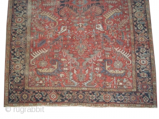 """Heriz Persian, knotted circa in 1915 antique,  337 x 247 (cm) 11' 1"""" x 8' 1""""  carpet ID: P-3611 The black knots are oxidized, the knots are hand spun wool, the  ..."""