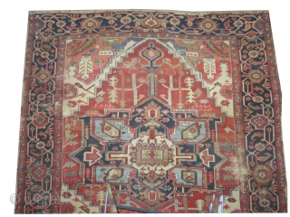"""Heriz Persian, knotted  antique,  262 x 242 (cm) 8' 7"""" x 7' 11""""  carpet ID: P-4765 The black knots are oxidized, the knots are hand spun wool, the selvages are  ..."""