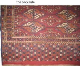 """Tekke Turkmen Boukhara,  antique. Collector's item. Over than 100 years old. Size: 102 x 101 (cm) 3' 4"""" x 3' 4"""" carpet ID: K-3891  Vegetable dyes, the brown color is oxidized,  ..."""
