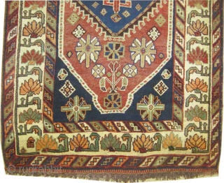 """Gabbeh Louri Persian, circa 1917, antique.Collector's item. Size: 198 x 121 (cm) 6' 6"""" x 4' carpet ID: M-394  Vegetable dyes, the knots are hand spun lamb wool, the warp and the  ..."""