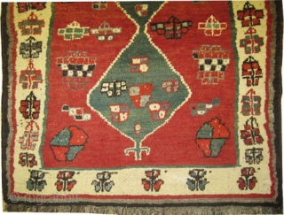 "Gabbeh Nomad Perian, circa 1935. Semi antique, collector's item. Size: 188 x 130 (cm) 6' 2"" x 4' 3"" carpet ID: T-711 The knots are hand spun wool, vegetable dyes, the warp  ..."