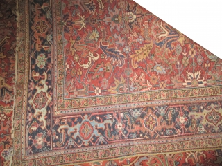 """Heriz Persian knotted circa in 1926, 410 x 310 (cm) 13' 5"""" x 10' 2""""  carpet ID: P-1892 The black knots are oxidized, the knots are hand spun wool, the selvages are  ..."""