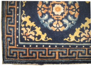 """Ningxia Chinese, antique. Collector's item. Size: 65 x 65 (cm) 2' 2"""" x 2' 2"""" , carpet ID: K-5614  Seat cover, vegetable dyes, the knots of certain colors are oxidized, indigo background, the  ..."""
