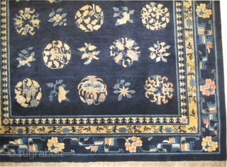 """Chinese carpet antique. Size: 196 x 179 (cm) 6' 5"""" x 5' 10""""  carpet ID: K-5204   vegetable dyes, the knots are hand spun lamb wool, indigo background, all over design,  ..."""