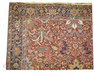 "Heriz Persian knotted circa in 1910 antique. Size: 368 x 266 (cm) 12' 1"" x 8' 9""