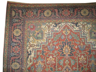 """Serapi Heriz knotted circa in 1910 antique, 324 x 220 (cm) 10' 7"""" x 7' 3""""   carpet ID: P-1276 The knots are hand spun wool, the black knots are oxidized, the background  ..."""