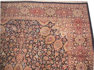 "Kirman Rashid-Farouki Persian. Signed as Rashid-Farouki, Shaik-Saffi design, old, 448 x 340 (cm) 14' 8"" x 11' 2""  carpet ID: P-3852 With center medallion, the knots are hand spun lamb wool, the  ..."