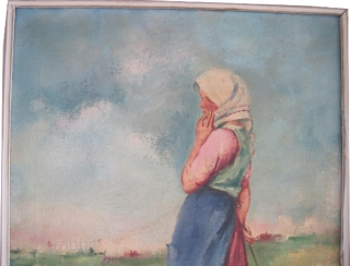 "European oil paining (Hungar ?), 1870 Antique, museum standard, collector's item, good condition and signed.Size: 60 x 70 (cm) 2'  x 2' 4""  carpet ID: FP-2"
