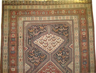 """Shiraz Khamseh Persian circa 1885, antique, collector's item, Size: 292 x 175 (cm) 9' 7"""" x 5' 9""""  carpet ID: K-5792  vegetable dyes, the black color is oxidized, the knots are  ..."""