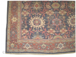 """Mahal Persian knotted circa in 1920 antique, 370 x 260 (cm) 12' 2"""" x 8' 6""""  carpet ID: P-3836 The black knots are oxidized, the knots are hand spun wool, all over  ..."""