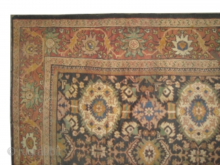"""Mahal Persian, knotted circa in 1895 antique,  368 x 270 (cm) 12' 1"""" x 8' 10""""  carpet ID: P-4290 The black knots are oxidized, all over design, the background is indigo,  ..."""