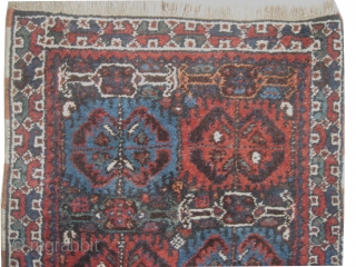 Qashqai Persian, circa 1930. SIZE: 54 x 55cm, carpet ID: BRD-13  very thick pile, the warp and the weft threads are mixed with wool and goat hair, the knots are hand spun  ...