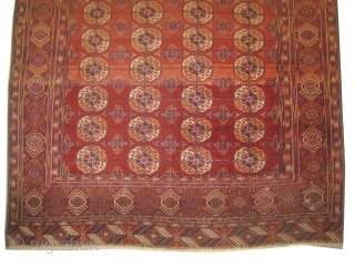 Tekke Boukhara Turkmen, circa 1890, antique, 176 x 300cm, collectors item, carpet ID: BDU-4 vegetable dyes, the black color is oxidized, very fine knotted, the pile is uniformly short, all over traditional tekke  ...