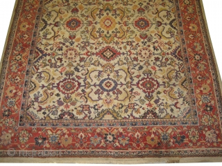 Mahal Persian, knotted circa in 1910, 220 x 320 cm,  carpet ID: IMG9365 Ivory background with allover design, thick pile in perfect condition.