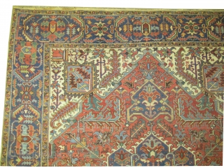 """Heriz Persian knotted circa in 1925, 360 x 271 (cm) 11' 10"""" x 8' 11""""  carpet ID: P-1236 The black knots are oxidized, the knots are hand spun wool, the selvages are  ..."""
