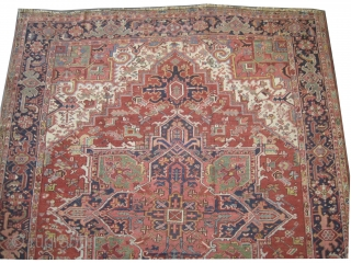 """Heriz Persian, knotted circa in 1920 antique,  315 x 262 (cm) 10' 4"""" x 8' 7""""  carpet ID: P-1454 The knots are hand spun wool, the black knots are oxidized, the  ..."""