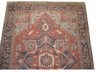 """Heriz Persian, knotted circa in 1915 antique,  334 x 236 (cm) 10' 11"""" x 7' 9""""  carpet ID: P-2512 The black knots are oxidized, the knots are hand spun wool, the  ..."""