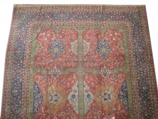 "Indian carpet signed, circa 1925. Semi antique. Size: 340 x 255 (cm) 11' 2"" x 8' 4""  carpet ID: P-5686  High pile, good condition, vegetable dyes, the knots are hand spun  ..."