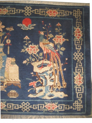 """Pictorial Chinese carpet circa 1915 antique. Collector's item, Size: 170 x 105 (cm) 5' 7"""" x 3' 5""""  carpet ID: K-3973  the knots are hand spun wool, vegetable dyes, perfect  ..."""