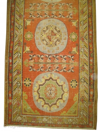 """Khotan Samarkand circa 1920. Size: 254 x 122 (cm) 8' 4"""" x 4'   carept ID: K-4458  The knots are hand spun wool, the black color is oxidized, the background color is  ..."""