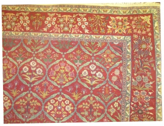 """Amritsar Indian circa 1925 Semi antique. From 16th century Mogul design. Size: 348 x 256 (cm) 11' 5"""" x 8' 5""""  carept ID: P-5692  Vegetable dyes, the black color is  ..."""