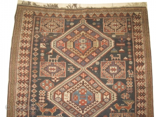 """Shirvan Caucasian, knotted circa in 1890 antique, collector's item,  178 x 125 (cm) 5' 10"""" x 4' 1""""  carpet ID: RSZ-10 The knots are hand spun wool, the black knots are  ..."""