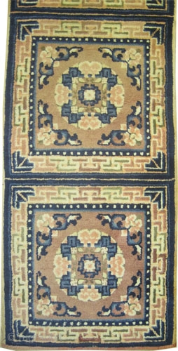 """Ningxia runner Chinese, collector's item, Size: 242 x 63 (cm) 7' 11"""" x 2' 1""""  carpet ID: K-5677 seat cover, certain colors are oxidized, used for coverage of sitting bench. The knots  ..."""