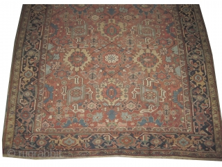 Heriz Persian knotted  antique,  306 x 244 (cm) 10'  x 8'  carpet ID: P-4614 The black knots are oxidized, the knots are hand spun  wool, all over  ...