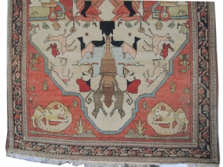 """Pictorial Farahan-Sarouk Persian signed and collector's item, circa 1905 antique. Size: 127 x 195 (cm) 4' 2"""" x 6' 5""""  carpet ID: K-3061  Vegetable dyes, the brown and the black colors  ..."""