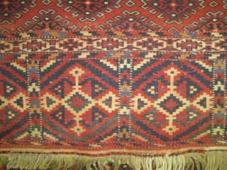 "Yemouth Turkmen knotted circa in 1905 antique, collector's item. Size: 130 x 105 (cm) 4' 3"" x 3' 5""  carpet ID: E-284