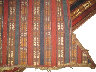 "Yemouth Turkmen horse cover, knotted circa in 1920 antique, collector's item. Size: 134 x 98 (cm) 4' 5"" x 3' 3""  carpet ID: K-3990
