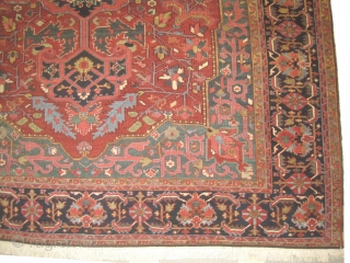 Heriz Persian circa 1910 antique, 264 x 378 cm, carpet ID: KI-1  Vegetable dyes, the black color is oxidized, the knots are hand spun wool, the background is rust, indigo medallion, green  ...