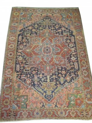 "Serapi Heriz Persian circa 1890 antique.  Size: 294 x 196 (cm) 9' 8"" x 6' 5""  carpet ID: P-5349  High pile, vegetable dyes, the knots are hand spun lamb wool,  ..."