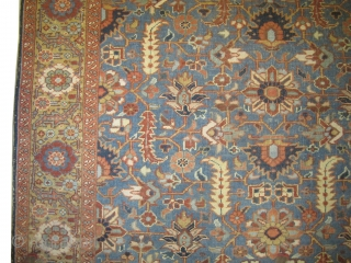 "Bakshaish Heriz Pesian circa 1910 antique. Size: 279 x 216 (cm) 9' 2"" x 7' 1""  carpet ID: P-5884  Vegetable dyes, all over design, sky blue background, the surrounding border is gold  ..."