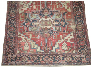 Serapi Heriz Persian, knotted circa in 1880, antique, collectors item, 262 x 242 cm, carpet ID: P-4765 The black knots are oxidized, the knots are hand spun lamb wool, the background is warm  ...