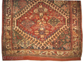 "Qashqai bag Persian circa 1900 antique, collector's item, Size: 58 x 54 (cm) 1' 11"" x 1' 9""  carpet ID: K-4933  the knots are hand spun wool, vegetable dye, the black  ..."